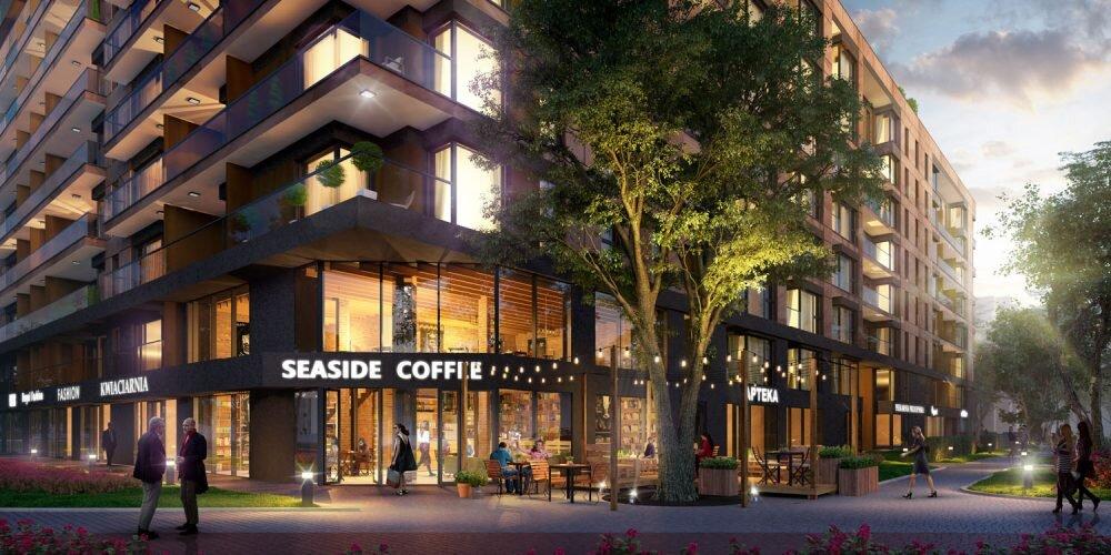 wizualizacja kafejki w budynku mieszkalnym. W całości wizualizacja 3d.