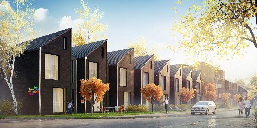 Romantyczna wizualizacja budynków mieszkalnych w zabudowie szeregowej