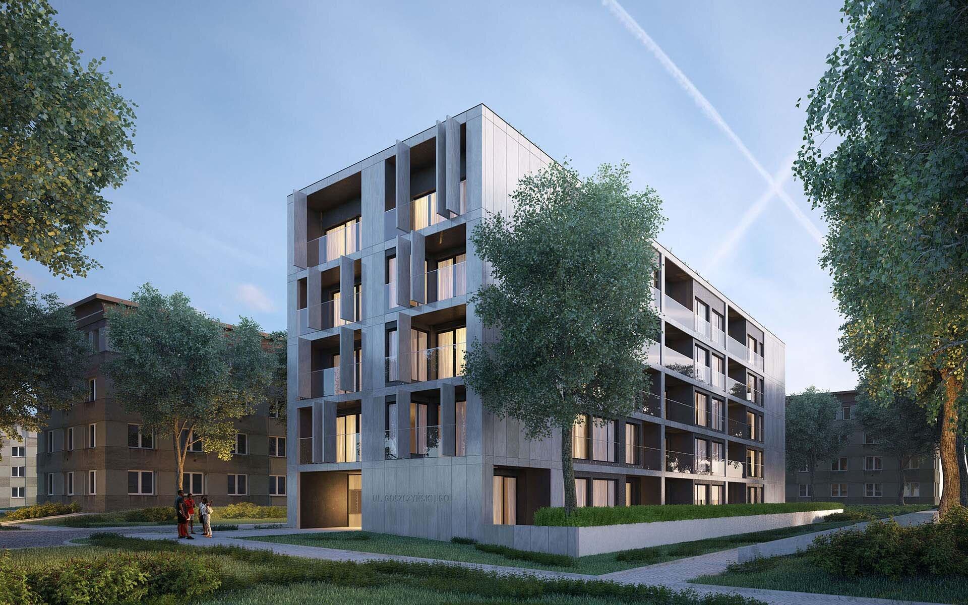 Wizualizacja budynku apartamentowego na Warszawskim Mokotowie