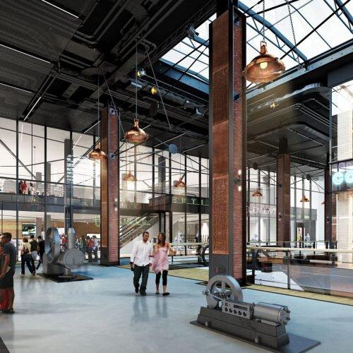 wizualizacja wnętrza budynku handlowego w klimacie industrailnym