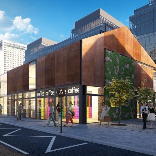 wizualizacja nowoczesnego industrialnego budynku, elewacja z cortenu