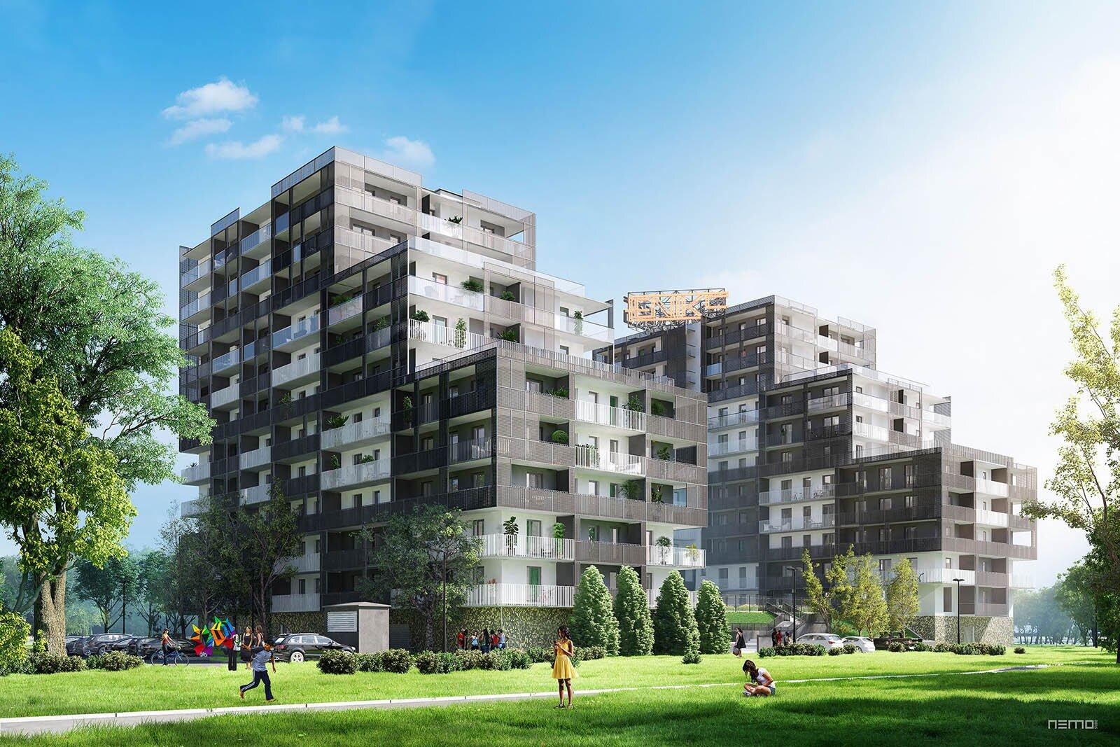 Słoneczna wizualizacja budynku mieszkalnego Fenik w Soho Factory w Warszawie