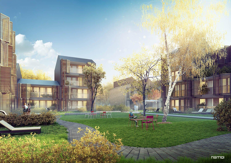 romantyczna wizualizacja nowoczesnej architektury mieszkalnej w Norwegii. Wizualizacja jesienna, mgła, złota godzina.