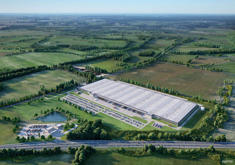 wizualizacja centrum logistycznego gdzieś w Polsce. Widok z lotu ptaka z panoramą na pola i lasy.