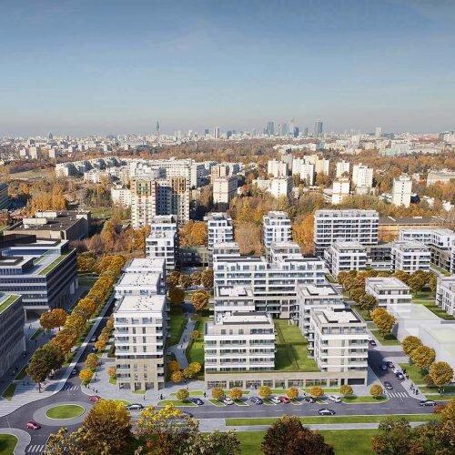wizualizacja osiedla mieszkalnego z lotu ptaka z panoramą na centrum Warszawy.