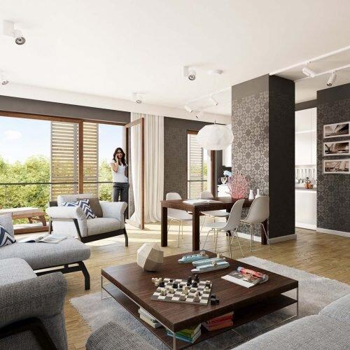 wizualizacja luksusowego apartamentu mieszkalnego. nowoczesny projekt wnętrza.