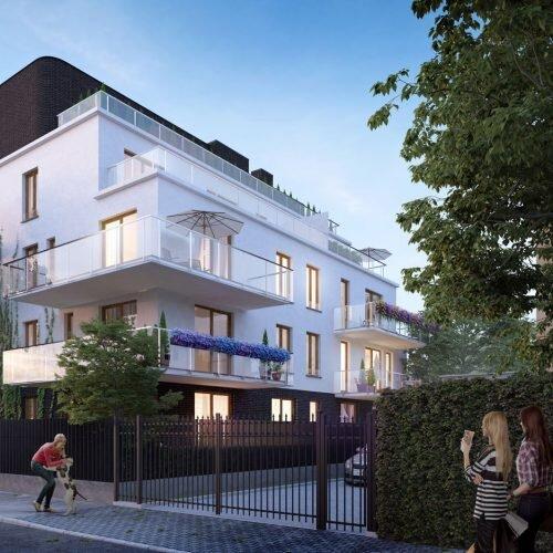 wizualizacja kameralnego budynku mieszkalnego, oświetlenie wieczorne