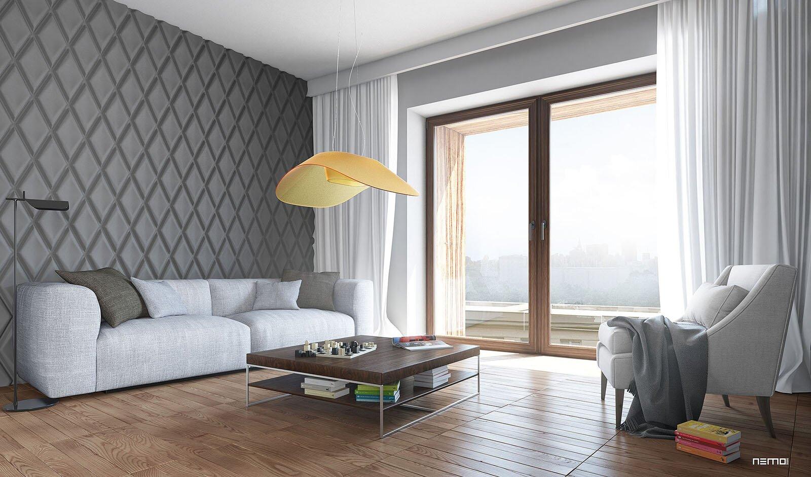 wizualizacja wnętrza apartamentu mieszkalnego w starej części warszawskiej Woli, Muranowa