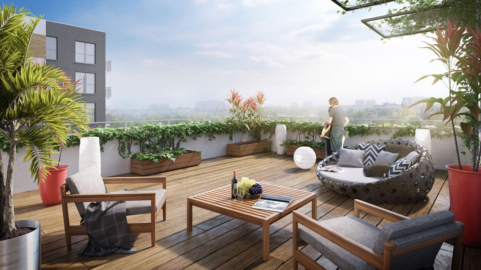 Wizualizacja 3d z widokiem na panoramę miasta. Atmosfera prywatności i spokoju.