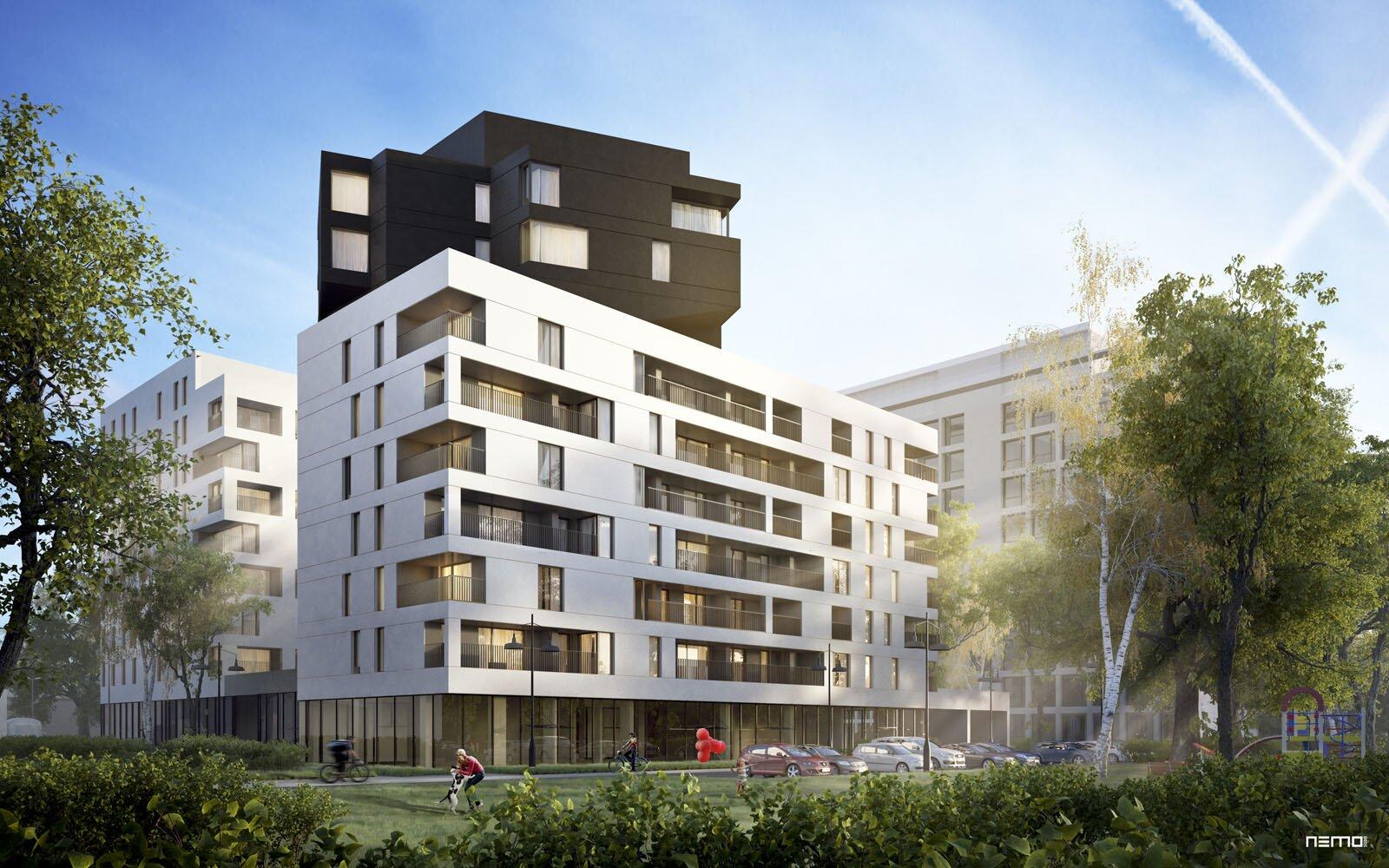 Klimatyczna wizualizacja 3d budynku mieszkalnego WARS w Soho Factory w Warszawie.