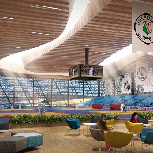 przestrzenna wizualizacja wnętrza hali sportowej
