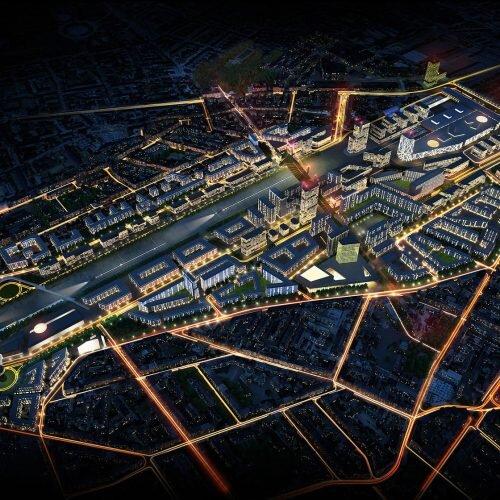 Nocna wizualizacja z lotu ptaka. światło w wizualizacji to najważniejszy element. Odpowiada za odbiór projektu.