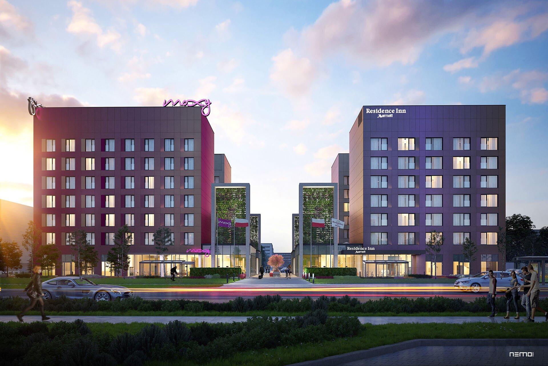 wizualizacja budynku hotelu w Warszawie