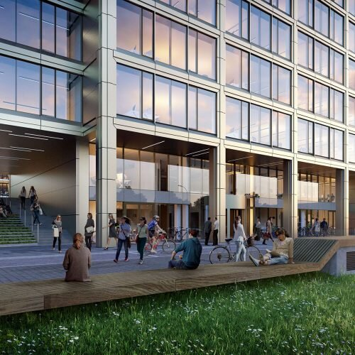 grafika przedstawia wizualizację architektoniczną budynku biurowego
