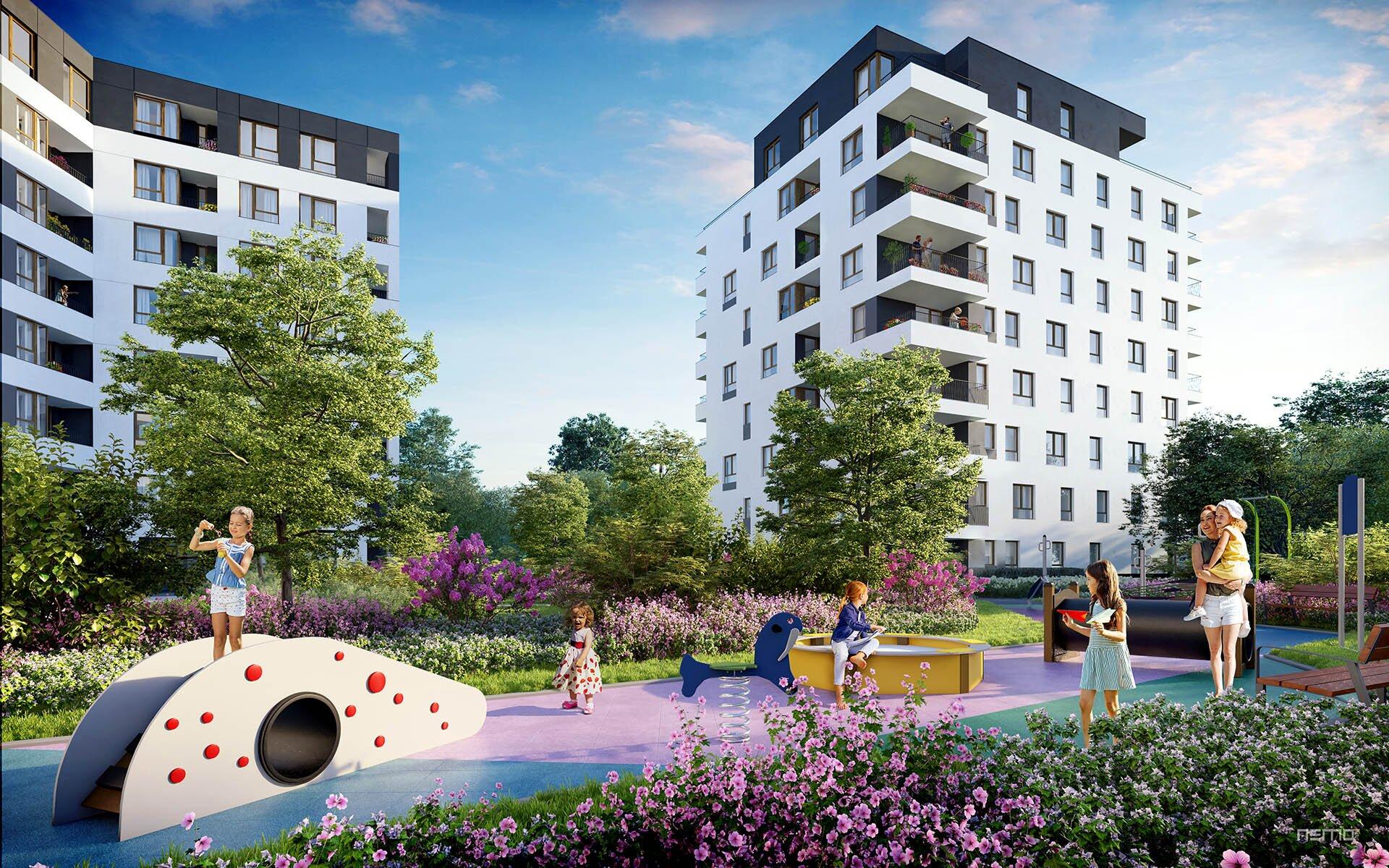 obraz pokazujący wizualizację architektoniczną budynku mieszkalnego wielorodzinnego