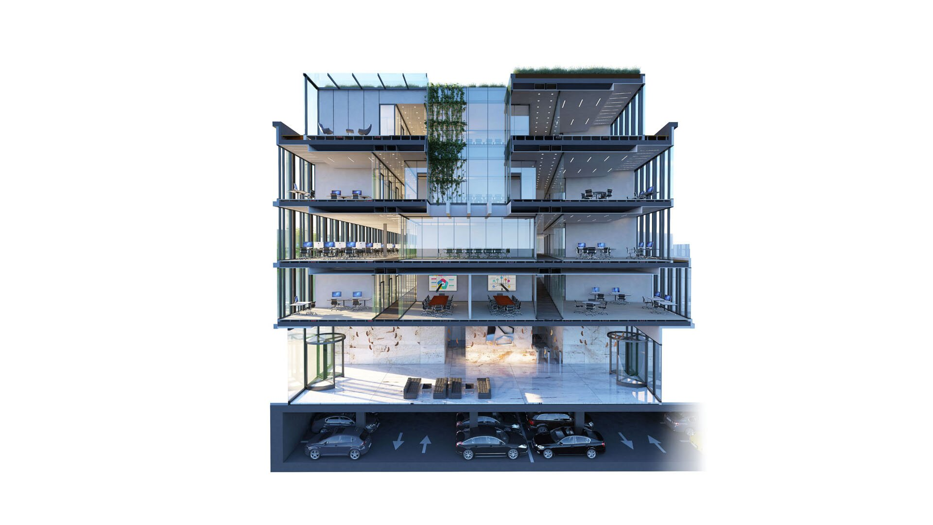 fotorealistczna wizualizacja pokazująca przekrój budynku